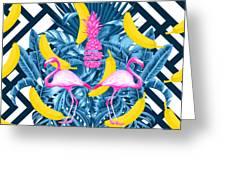 Tropical Banana Pink   Greeting Card