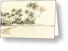 Tropical Beach Drawing Greeting Card