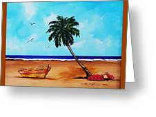 Tropical Beach Scene Greeting Card
