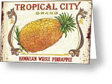Tropical City Pineapple Greeting Card by Debbie DeWitt
