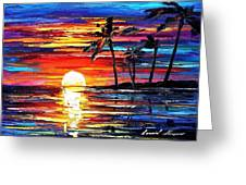 Tropical Fiesta - Palette Knife Oil Painting On Canvas By Leonid Afremov Greeting Card