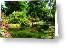 Tropical Garden By Lake Greeting Card