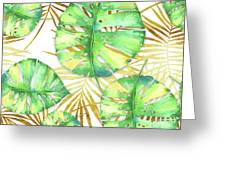 Tropical Haze Blanche Variegated Monstera Leaves, Golden Palm Fronds On Black Greeting Card