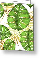 Tropical Haze Green Monstera Leaves And Golden Palm Fronds Greeting Card
