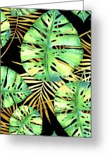 Tropical Haze Noir Variegated Monstera Leaves, Golden Palm Fronds On Black Greeting Card