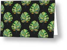 Tropical Leaves On Black- Art By Linda Woods Greeting Card by Linda Woods