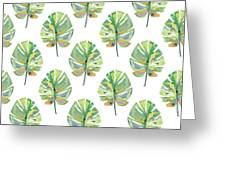 Tropical Leaves On White- Art By Linda Woods Greeting Card by Linda Woods