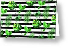 Tropical Leaves Pattern In Watercolor Style With Stripes Greeting Card