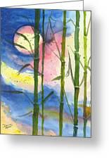 Tropical Moonlight And Bamboo Greeting Card