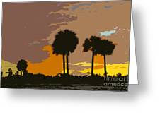 Tropical Palms Work Number Three Greeting Card