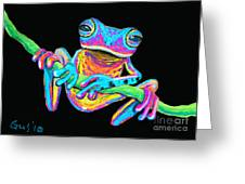 Tropical Rainbow Frog On A Vine Greeting Card