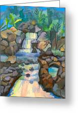 Tropical Rainbow Waterfall Greeting Card