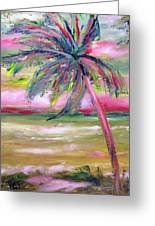 Tropical Sunset In Pink With Palm Tree Greeting Card