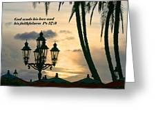 Tropical Sunset Psalm Fifty Seven Vs Three Greeting Card