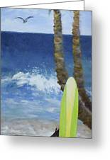Tropical Surfboard Greeting Card