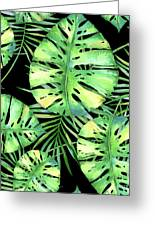 Tropics Noir, Tropical Monstera And Palm Leaves At Night Greeting Card