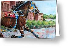 trotter standardbred Horse at the Little Brown Jug Greeting Card
