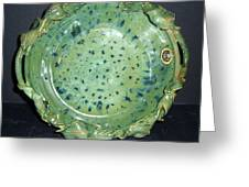 Trout Pattern Glaze Bowl With Leaves Greeting Card