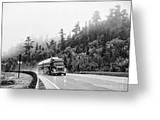 Truck On Foggy Highway Greeting Card