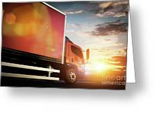 Truck Speeding On The Highway. Transportation Greeting Card
