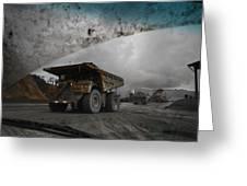 Trucks Hauling Waste Rock At Batu Greeting Card by Randy Olson
