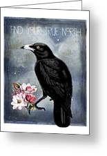 True North Crow And Magnolias Greeting Card
