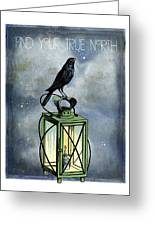 True North Crow Sits On The Night Lantern Greeting Card