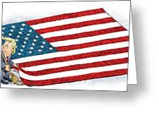 Trump Sweeps Under The Flag Rug Greeting Card
