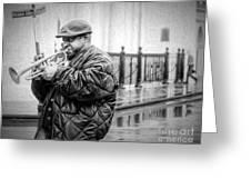 Trumpet In The Rain 2 - Nola Greeting Card