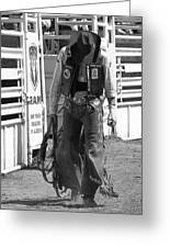 Try Again Cowboy Black And White Greeting Card