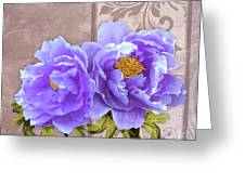 Tryst, Lavender Blue Peonies Still Life Flowers Greeting Card