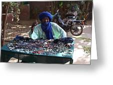 Tuareg Man Selling Jewelry Greeting Card