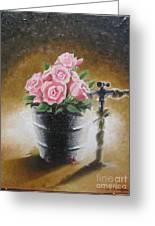 Tub Of Roses Greeting Card