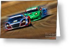 Tudor Audi R8 Races Porsche 911rsr United Sportcar Championship Greeting Card