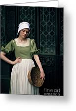 Tudor Woman Outside A Timber Building  Greeting Card