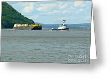 Tug And Barge Greeting Card