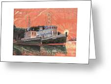 Tug Boats Anchored In Red Sky Greeting Card