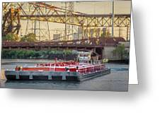 Tug Derek E And Barge On The Calumet River Greeting Card