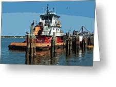 Tug Indian River At Port Canaveral In Florida Usa Greeting Card