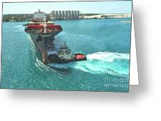 Tugboat At Freeport, Grand Bahamas Harbor Greeting Card
