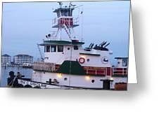 Tugboat At Twilight Greeting Card