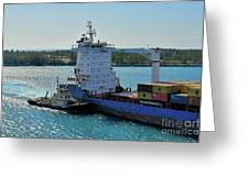Tugboat Helping Container Ship Out Of Harbor Greeting Card