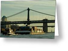 Tugboat Pulling A Barge On The East Greeting Card