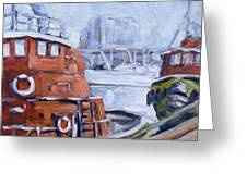 Tugs In Harbour Greeting Card