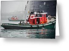 Tugs Maneuvering Ship In The Fog Greeting Card