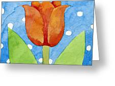 Tulip Blue White Spot Background Greeting Card