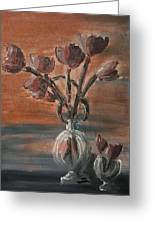 Tulip Flowers Bouquet In Two Round Water Filled Small Globe Shaped Vases On A Table Still Life Of Bo Greeting Card