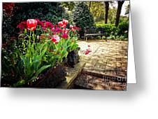 Tulips And Bench Greeting Card