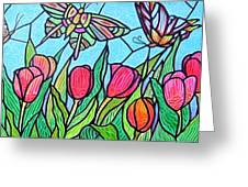 Tulips And Butterflies Greeting Card