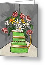Tulips And Daisies Greeting Card
